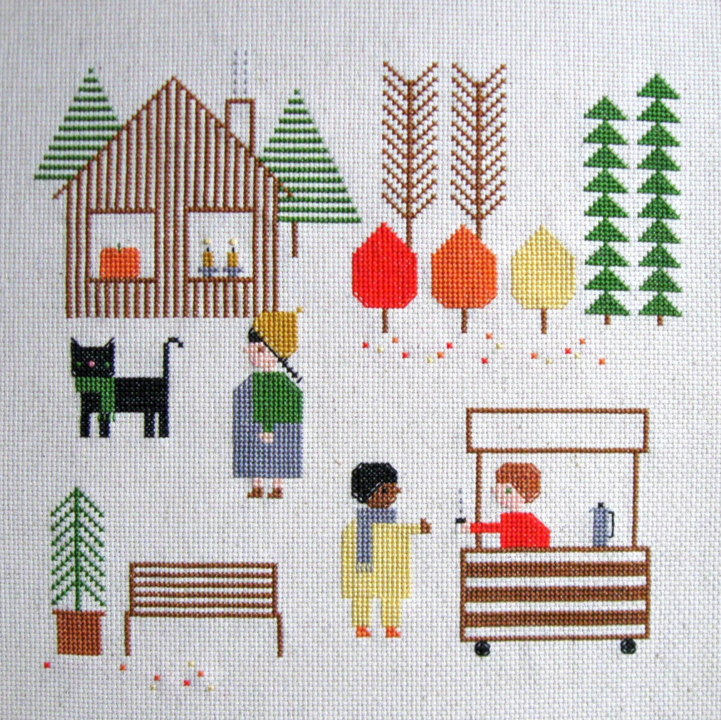 Fall Day Cross Stitch Pattern by Samantha Purdy Textile, featured by floresita on Feeling Stitchy
