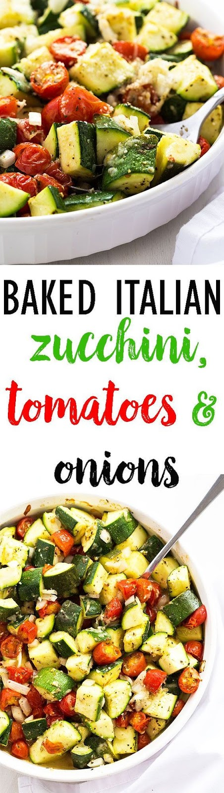 Today I'm sharing one of my new favorite veggie recipes:  Baked Italian Zucchini, Tomatoes and Onions.  It's so healthy, hearty and filling!  Sign up for my free email subscription and never miss a recipe.