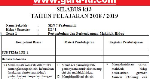 Silabus K13 Kelas 3 Revisi 2018 Semester Ganjil Info Pendidikan Terbaru
