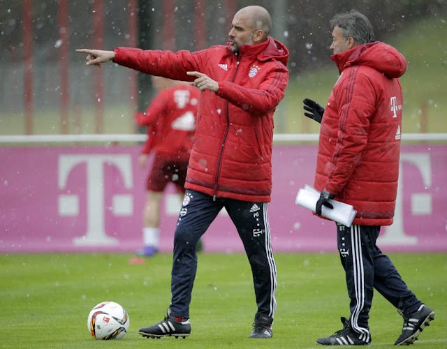 Josep Guardiola has held his first training session with Bayern Munich since confirmation that he will take over at Manchester City next season