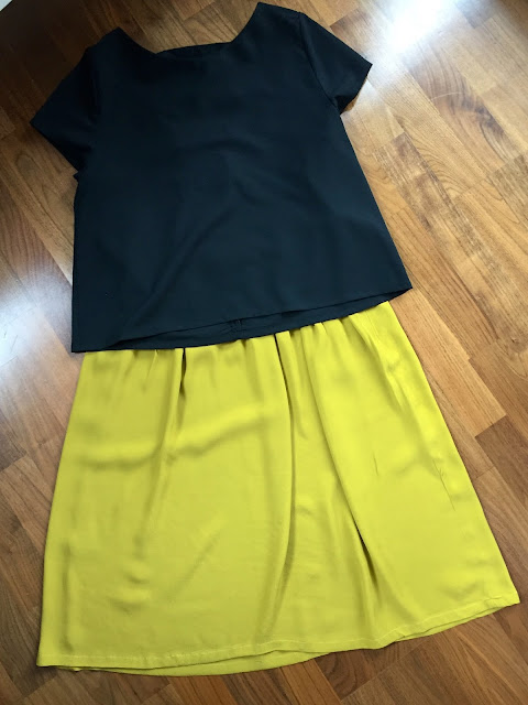 Diary of a Chain Stitcher: Mustard Midi Skirt & Black Inari Tee with Cut Out Back