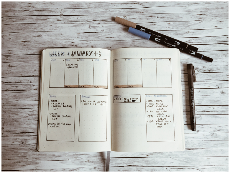 the weekly, recap, wochenrückblick, bullet journal