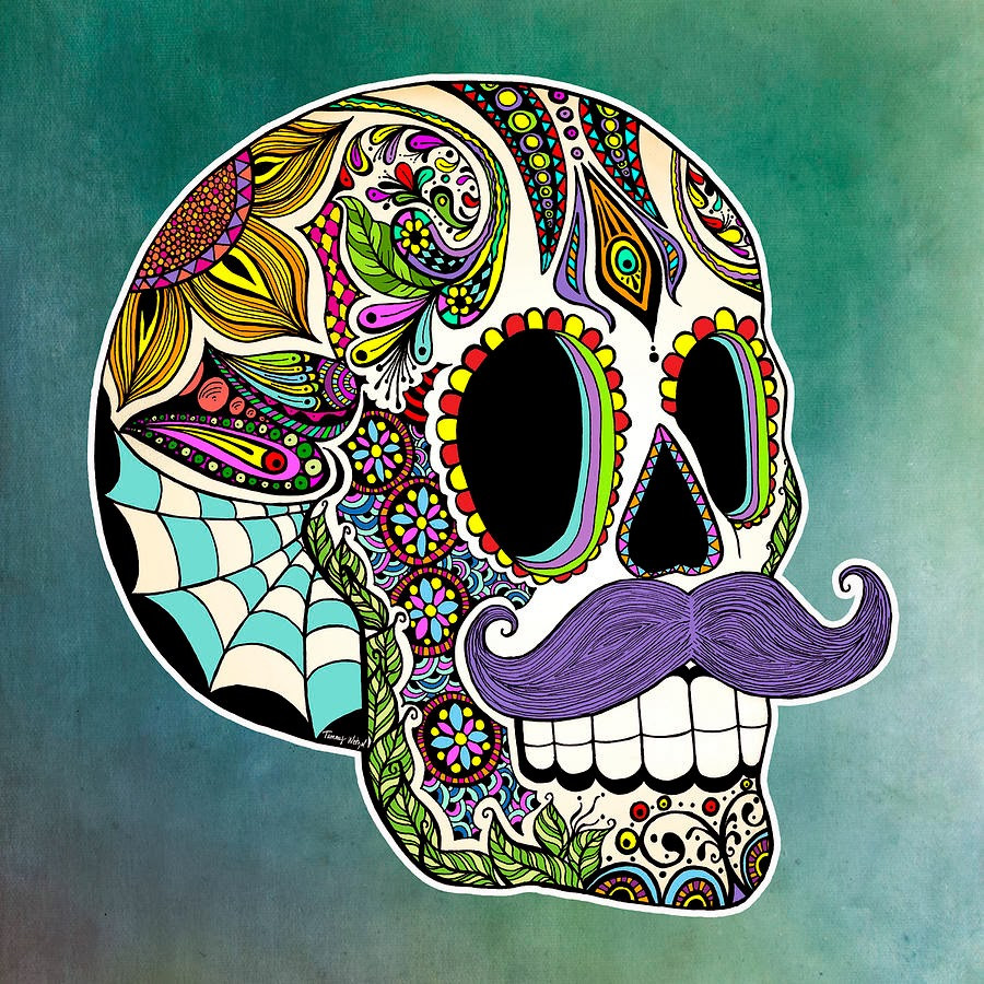 forget me not [smile]: mustache sugar skull
