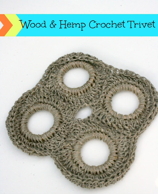 Wood & Hemp Crocheted Trivet