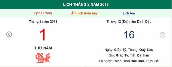 Xem ngày tốt xấu, giờ hoàng đạo - Xem lịch Thứ Năm ngày 1 tháng 2 năm 2018