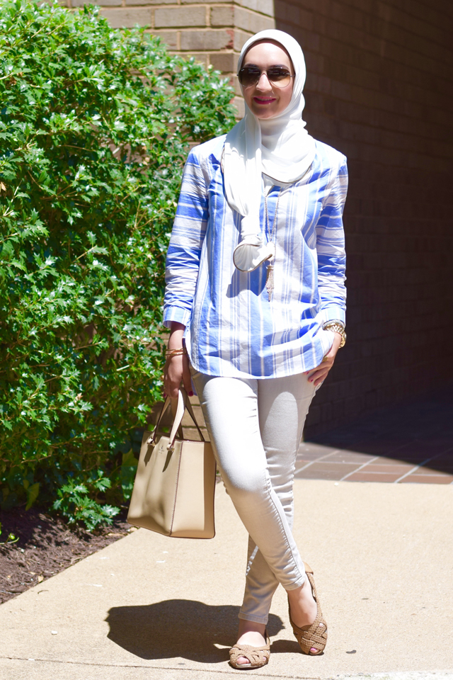 A Day In The Lalz; Fashion; Modesty; Summer; Tunic; J. Crew; Stripe; Vela; Hijab