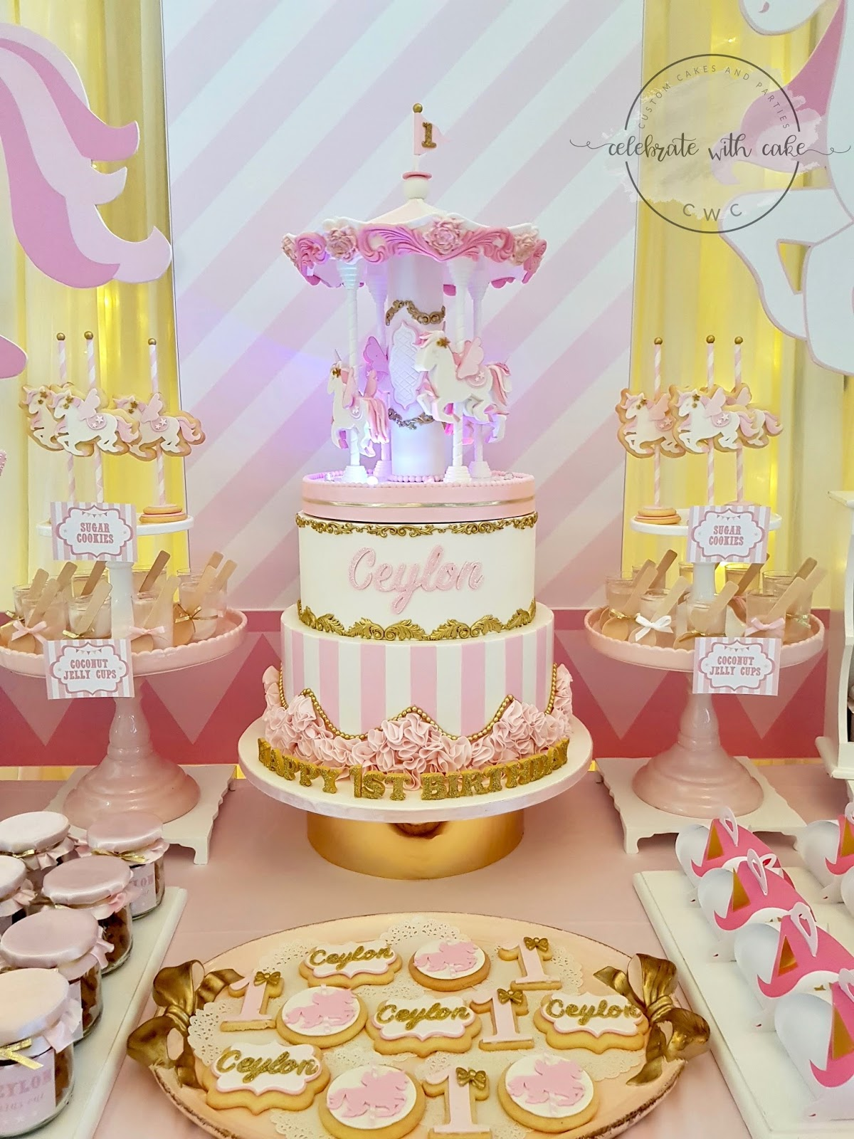 Rotating Flying Unicorn Carousel 1st Birthday Cake