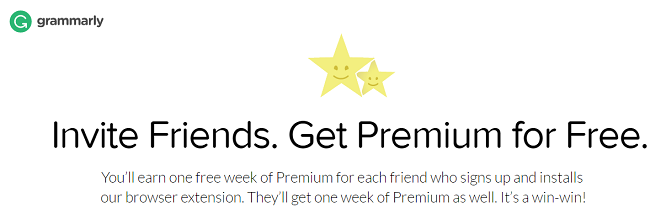 Invite friends and get grammarly premium
