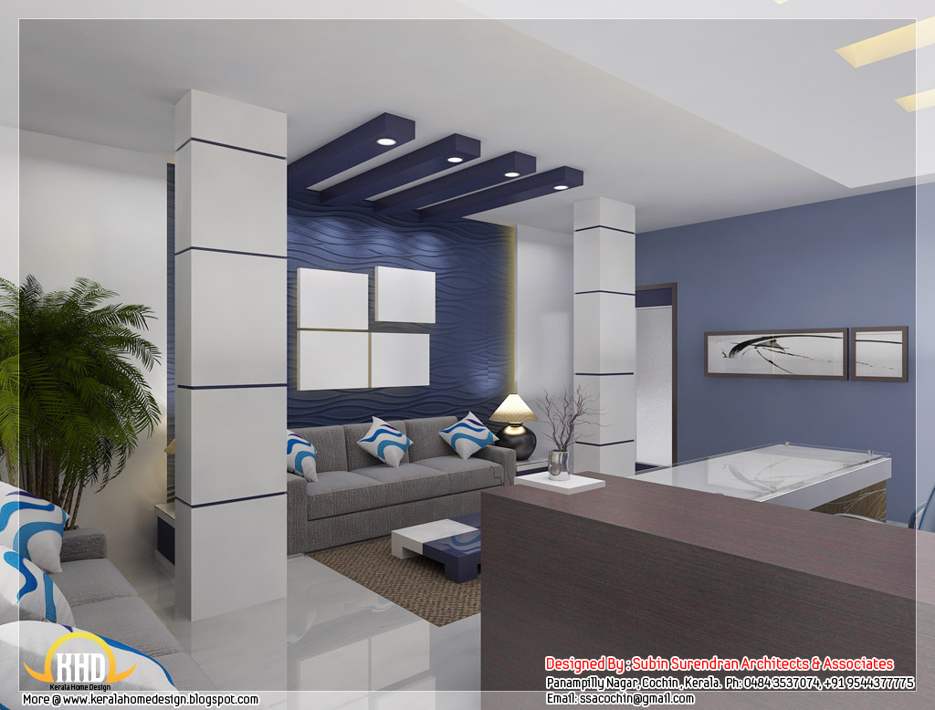 Nice Home Offices Beautiful 3d Interior Office Designs Kerala Home Design