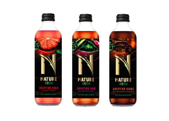 Новая линейка напитков Nature Rush, Новая линейка напитков Nature Rush «Энергия кофе. Вкус шоколада и апельсина» «Энергия сока. Красный грейпфрут» и «Энергия чая. Вкус малины и мяты» состав цена стоимость пищевая ценность объём упаковка Россия 2018