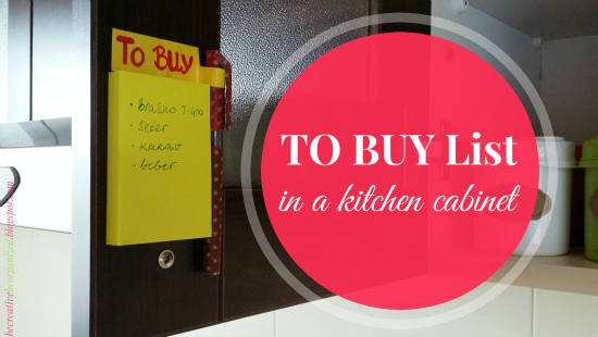 """TO BUY"" List In A Kitchen Cabinet"