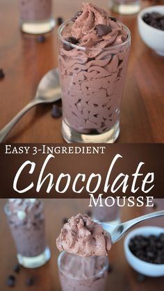 EASY 3-INGREDIENT CHOCOLATE MOUSSE #easyrecipes #chocolate #mousse #cream #dessert #dessertrecipes