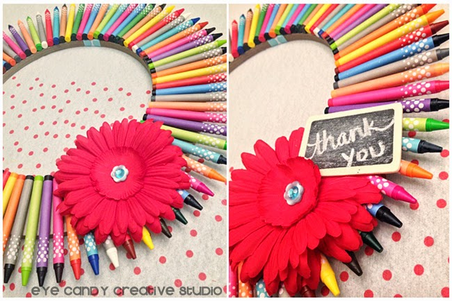 embellishments for crayon werath, red daisy, mini chalkboard sign