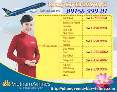 Vé máy bay Tết 2016 hãng Vietnam Airlines