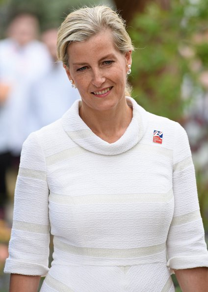 Countess Sophie wore SUZANNAH Wave Textured Stripe skirt and top, carried Sophie Habsburg- Amber clutch at the RHS Hampton Court Palace Flower Show