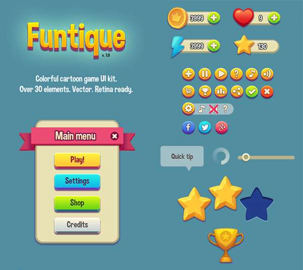 "Free Game UI Kit (PSD) ""Funtique"" 