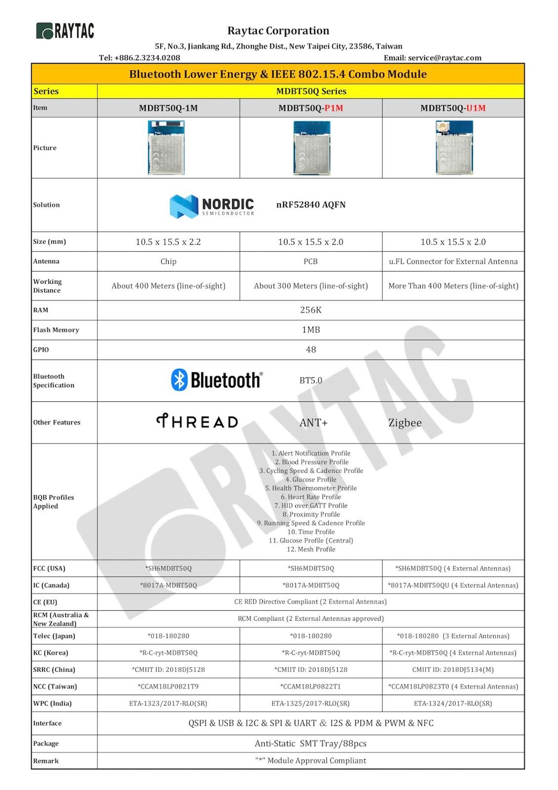 BLE & BT5 & BT4 2& BT4 1& BT4 0 Module: MDBT50Q-RX, a nRF52840 USB