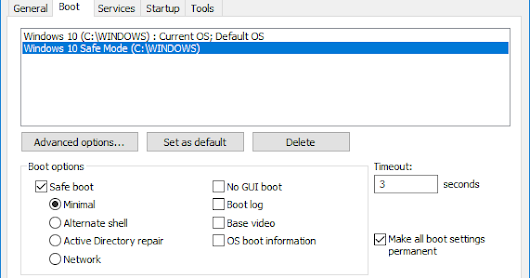Add Safe Mode to Windows 10 Boot Options