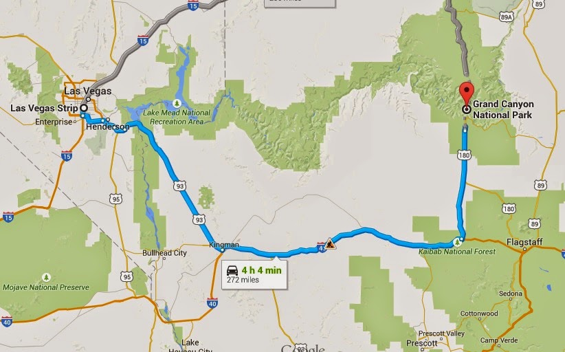 Driving From Las Vegas To The Grand Canyon Trip Tips Las Vegas - Las vegas grand canyon map