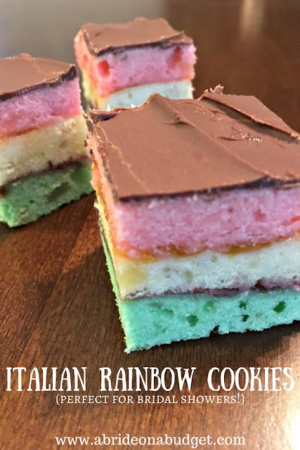 Italian Rainbow Cookies are a great bridal shower dessert -- and you can make them yourself! Get an Italian Rainbow Cookies recipe on www.abrideonabudget.com.