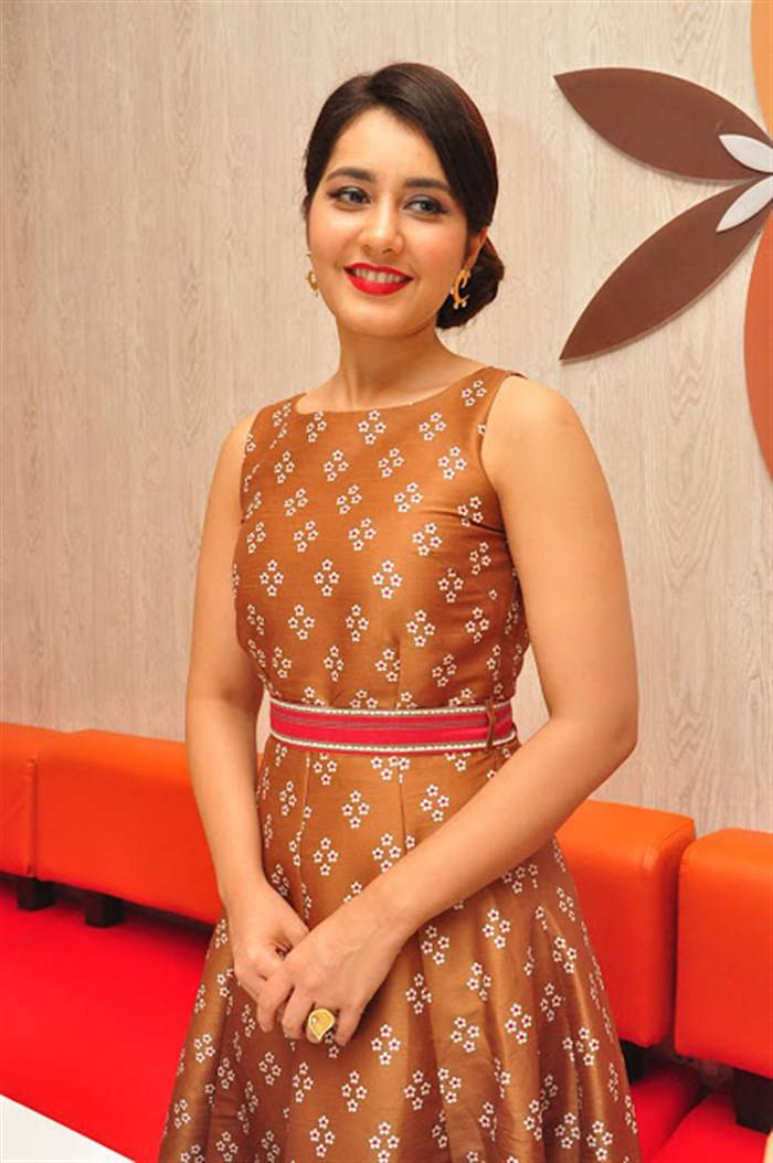 Rashi Khanna Latest Hot Glamourous Brown Sleveless Skirt PhotoShoot Images At Biryanis Restaurant Launch
