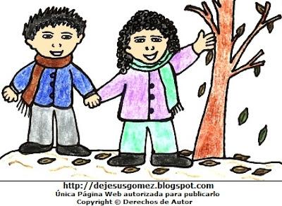 Dibujo de la estación de otoño a color  (Niños junto a hojas secas en otoño). Dibujo de la estación de otoño hecho por Jesus Gómez