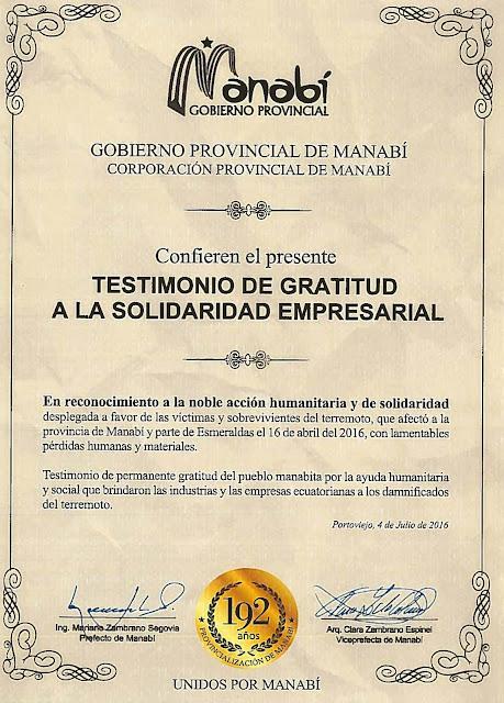 El Gobierno Provincial de Manabí elogia la solidaridad de CEDAL