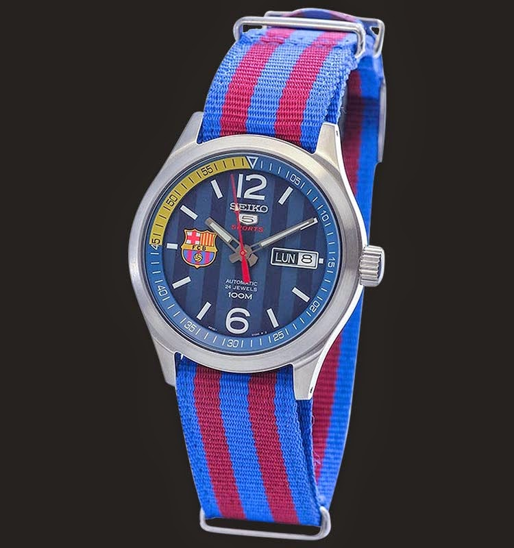 Seiko 5 Sports SRP303K1 Barcelona Blue Red Nylon 38mm