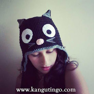 gorro tejido en crochet de gatita Fulares portabebés y tejidos a crochet kangutingo