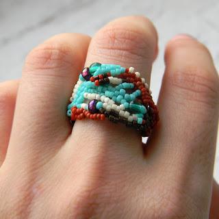 красивые большие кольца авторской работы из бисера купить