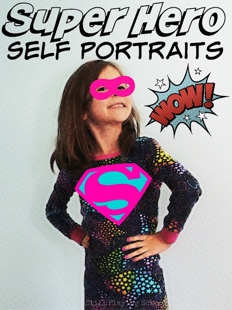 Create super hero self portraits using your own images! This is super meaningful writing practice for kids!