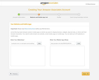 Amazon Account your website information and add site