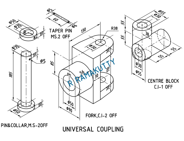 Machine Drawing: UNIVERSAL COUPLING