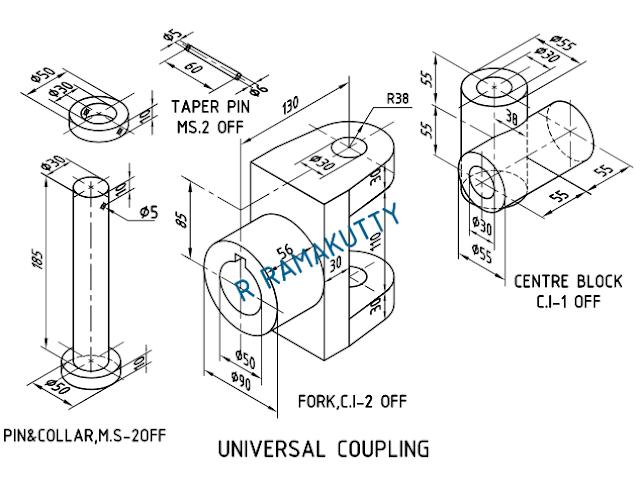 Machine Drawing: UNIVERSAL COUPLING