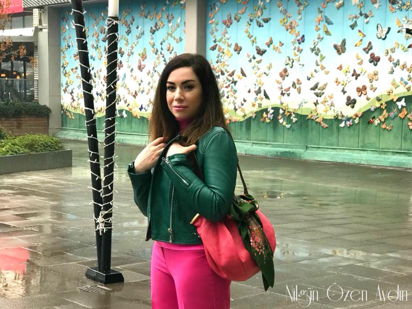 Pembe çanta-yeşil deri ceket-moda blogu