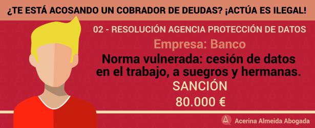80.000 euros de sanción de la Agencia de Protección de Datos