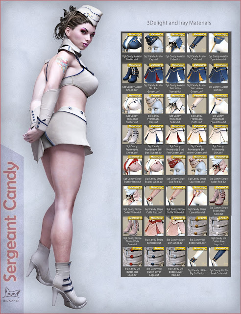 Sergeant Candy Outfit for Genesis 3 Female