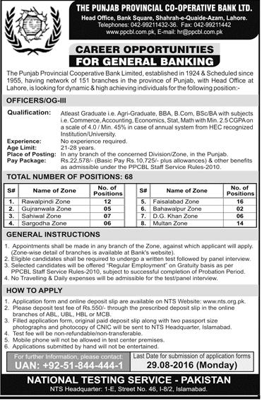 General Banking Officer Jobs in Pakistan Provincial Cooperative Bank Jobs in Punjab