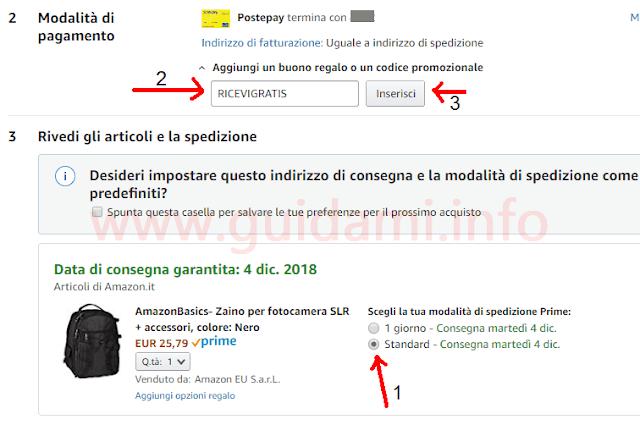 Riepilogo carrello acquisti di Amazon applicare codice promozionale