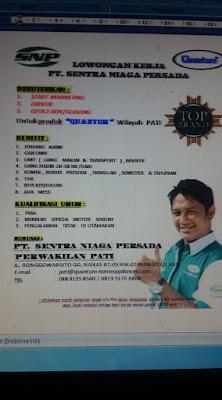 Lowogan kerja baru di PT. SENTRA NIAGA PERSADA (PATI - JAWA TENGAH)