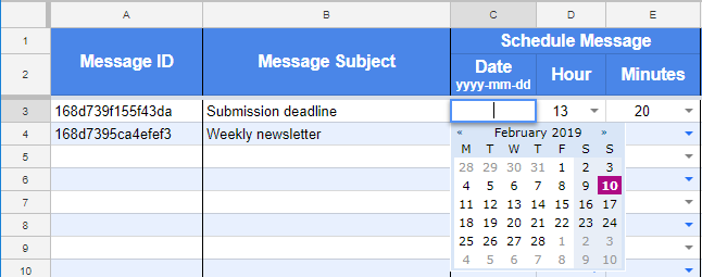 Screenshot of date-picker and dropdown boxes