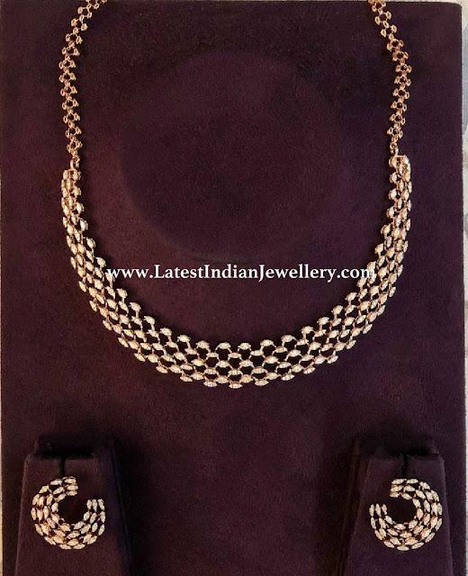 Classy Diamond Necklace and Studs