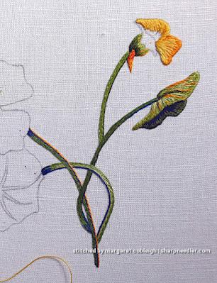 Catherine Laurencon Capucines (Inspirations): needlepainted embroidered small nasturtium flower started