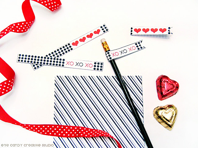 free valentines, pencil flags, XO, polka dots, free scrapbook paper