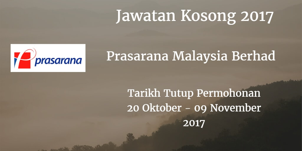 Jawatan Kosong Prasarana Malaysia Berhad 20 Oktober - 09 November 2017