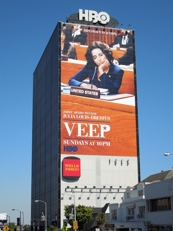 Giant Veep season 2 billboard Sunset Strip