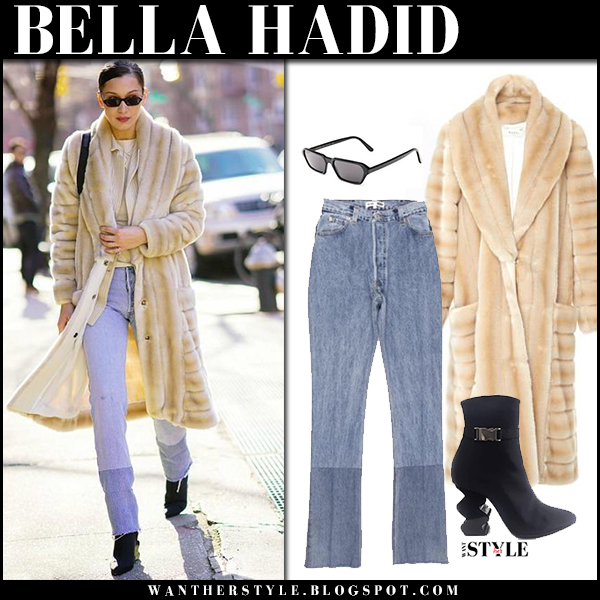 Bella Hadid in beige faux fur coat marei 1998, jeans and black boots model street style january 26