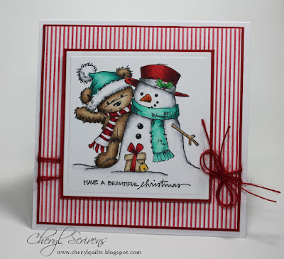 Lili of the Valley, James with Snowman, Cover-A-Card Stripes, Impression Obsession, A Muse sentiment, designed by Cheryl Scrivens, CherylQuilts