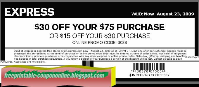 Express coupons 2018 free shipping
