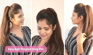 2 minute High Ponytail using pins only (No rubber-band) | Easy Hairstyle for school | collage | work